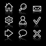 Basic web white contour icons Royalty Free Stock Photos