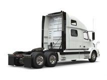 Basic white modern semi trailer truck - back view stock illustration
