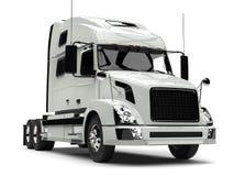 Basic white modern semi trailer truck - closeup shot royalty free illustration