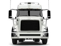 Basic white modern semi trailer truck - front view closeup shot vector illustration