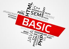 BASIC word cloud, tag cloud, vector graphics Royalty Free Stock Photo