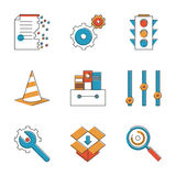 Basic work elements line icons set. Abstract icons of web settings and configuration testing, website support and service tools, internet file archive. Unusual