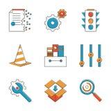 Basic work elements line icons set Stock Images