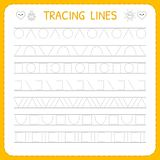 Basic writing. Trace line worksheet for kids. Working pages for children. Preschool or kindergarten worksheet. Vector illustration Stock Photography