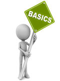 Basics. Getting the basics right, little 3d man holding banner with word basics on green road sign white background Royalty Free Stock Photos