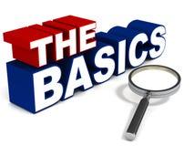 The basics. Basics concept, words the basics with chrome magnifying glass on white background Stock Images