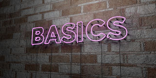 BASICS - Glowing Neon Sign on stonework wall - 3D rendered royalty free stock illustration Stock Image