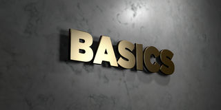 Basics - Gold sign mounted on glossy marble wall  - 3D rendered royalty free stock illustration Royalty Free Stock Photo