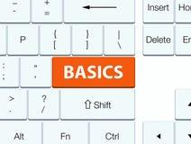 Basics orange keyboard button. Basics isolated on orange keyboard button abstract illustration Royalty Free Stock Photo