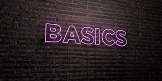 BASICS -Realistic Neon Sign on Brick Wall background - 3D rendered royalty free stock image Royalty Free Stock Photo