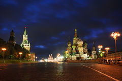 On Basil's Slope Under Cloudy Sky at Dusk - Moscow by Night Stock Image