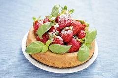 Basil cake with strawberries Royalty Free Stock Photo
