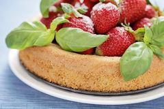 Basil cake with strawberries Royalty Free Stock Photography