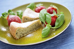Basil cake with strawberries Stock Photography
