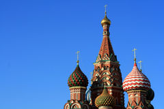 Basil cathedral. St. Basil cathedral at the Red square and blue sky as a background. Kremlin in Moscow, Russia Royalty Free Stock Image