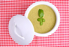 Basil cream soup Royalty Free Stock Images