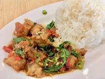 Basil Crispy-Schweinefleisch mit Reis lizenzfreie stockbilder