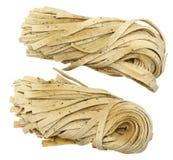 Basil Fettuccine Pasta Raw Imagen de archivo libre de regalías