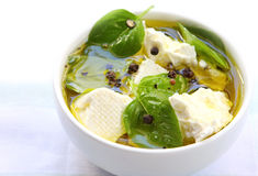 Basil Flavoured Feta Cheese Royalty Free Stock Images