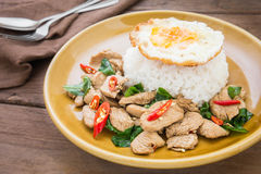 Basil fried rice with chicken and fried egg (Pad kra prao kai), Royalty Free Stock Image