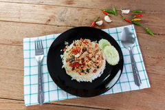 Basil fried rice with crabmeat Stock Images