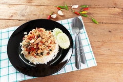 Basil fried rice with crabmeat Stock Image