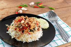 Basil fried rice with crabmeat Royalty Free Stock Photography