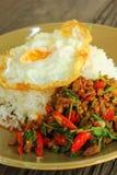 Basil Fried Rice med köttfärs Fotografering för Bildbyråer