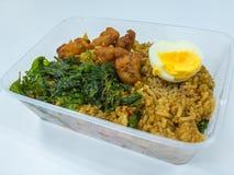 Basil Fried Rice mit Schweinefleisch und gekochtem Ei lizenzfreies stockfoto