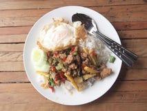 Basil Fried Rice Stock Photo