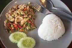 Basil Fried Rice with Pork Stock Photo