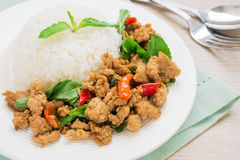 Basil fried rice with pork, Thai food Stock Photography