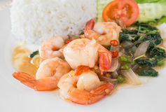 Basil fried rice with shrimp (Pad kra prao kung), Thai food Royalty Free Stock Image