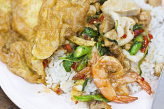 Basil Fried Rice With Shrimp,squid Stock Images