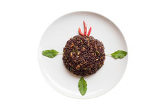 Basil fried riceberry rice mingled with minced pork Royalty Free Stock Photos