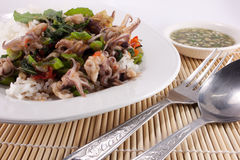 Basil Fried squid food in asia. Thailand Royalty Free Stock Photography