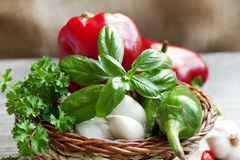 Basil with garlic and peppers Royalty Free Stock Image
