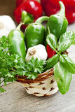 Basil with garlic and peppers Stock Photos