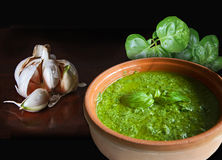 Basil garlic and pesto. Bowl of pesto alla genovese, Italian recipe for an exquisite noodles sauce, garlic and basil, two of the main ingredients along with Royalty Free Stock Photos