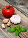 Basil, garlic and tomato Royalty Free Stock Photos