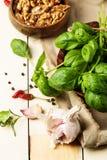 Basil, garlic and walnuts Royalty Free Stock Photo