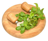 Basil Herb leaves On Chopping Board Stock Photo
