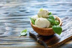 Homemade ice cream of basil. Stock Photography
