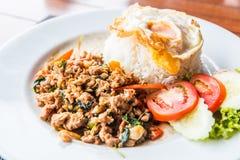 Basil lamb and fried egg Stock Image