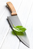 Basil leaf on knife Royalty Free Stock Images