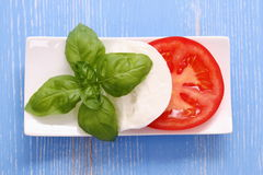 Basil leaf, mozzarella cheese and tomato slice as Italy flag Royalty Free Stock Photos