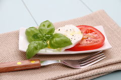 Basil leaf, mozzarella cheese, tomato slice, fork Royalty Free Stock Photo