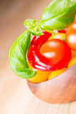 Basil leafs with cherry tomatoes and pepper in wooden bowl Stock Image