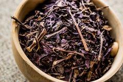 Basil Leaves Herbs secado en cucharón de madera/Reyhan hacia fuera Foto de archivo