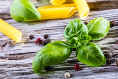 Basil leaves pepper and pasta on a old wooden table Royalty Free Stock Photography